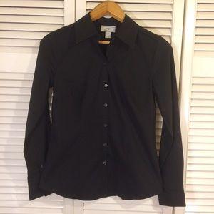 LOFT Black Button Down Shirt